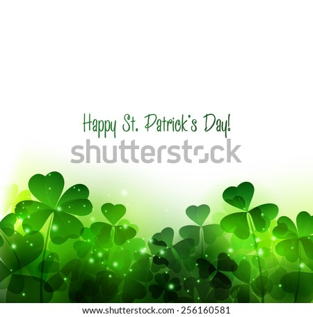 Vector Happy Saint Patrick's Day Background with clover - stock vector