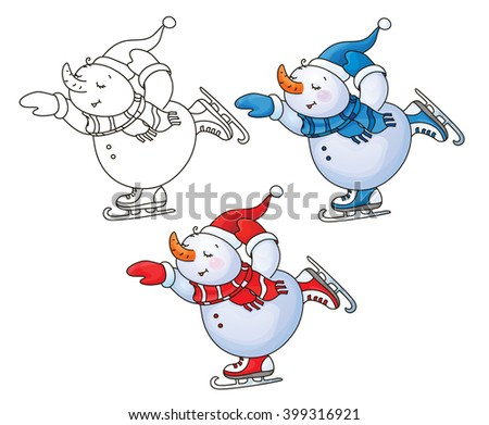 Vector happy skating snowman cartoon. - stock vector