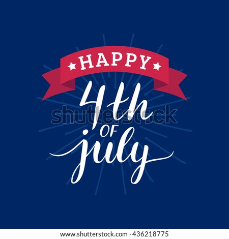 Vector Happy 4th of July greeting card. Happy Independence Day of United States of America background. USA freedom celebration banner. - stock vector