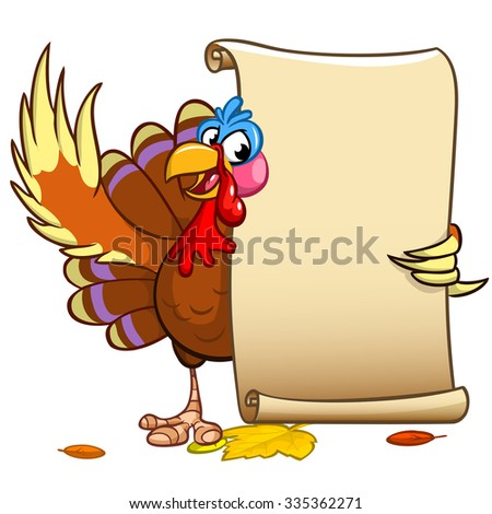 Vector happy Thanksgiving turkey with blank scroll. Isolated on white background - stock vector