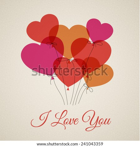 Vector Happy Valentine's card with hearts (I Love You) - stock vector