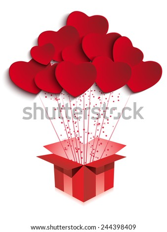 Vector - Happy Valentine's Day  Gift with Hearts - stock vector