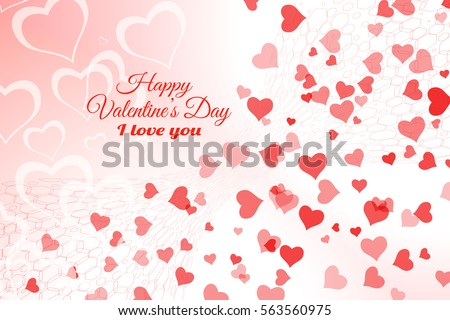 Vector Happy Valentine's Day gradient light red background with heart silhouettes different size and hexagon net.