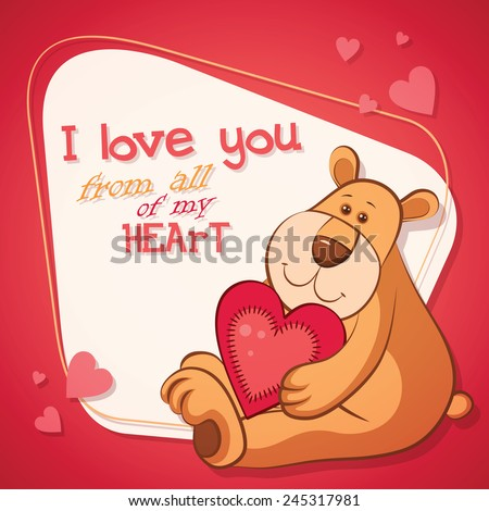 Vector Happy Valentine's day greeting card with cute cartoon teddy bear holding red heart - stock vector