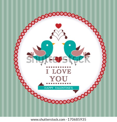Vector Happy Valentine's Day invitation card. I Love You. Perfect as invitation or announcement. - stock vector