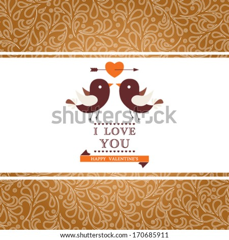 Vector Happy Valentine's Day invitation card with floral ornament background. I Love You. Perfect as invitation or announcement. - stock vector