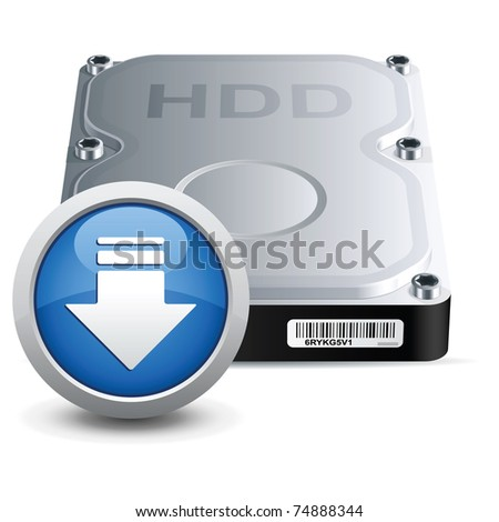 Vector hard disk drive icon with download sign - stock vector
