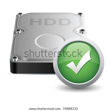Vector hard disk drive icon with OK sign - stock vector