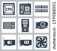 Vector hardware icons set: CPU, motherboard, RAM, power unit, computer case, video card, sound card, TV-tuner, cooler - stock photo
