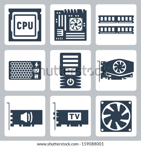 Vector hardware icons set: CPU, motherboard, RAM, power unit, computer case, video card, sound card, TV-tuner, cooler - stock vector