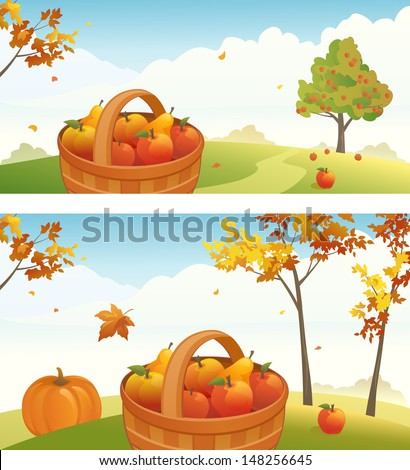 Vector harvest backgrounds with ripe apples, pears and pumpkin - stock vector
