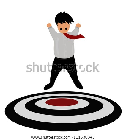 Vector - He was glad that he found the target. - stock vector