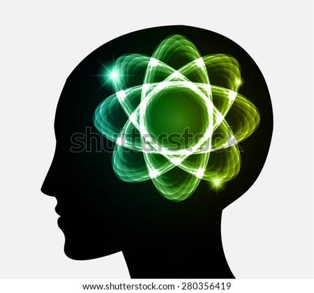 vector Head atom icon.dark blue green atom molecule science symbol brain scientific mind thinker. silhouette. infographics. - stock vector