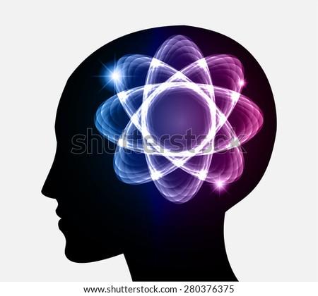 vector Head atom icon. dark blur purple atom molecule science symbol brain scientific mind thinker. silhouette. infographics. - stock vector