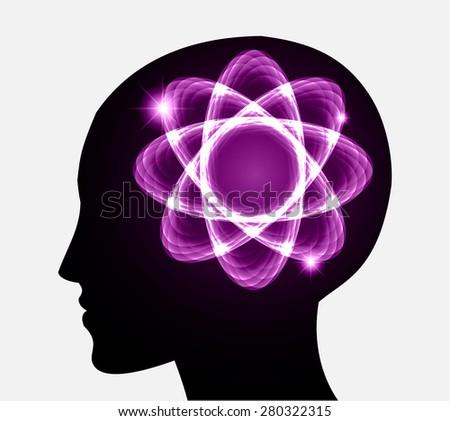 vector Head atom icon. dark purple atom molecule science symbol brain scientific mind thinker. silhouette. infographics. - stock vector