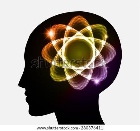 vector Head atom icon. yellow yellow purple orange atom molecule science symbol brain scientific mind thinker. silhouette. infographics. - stock vector