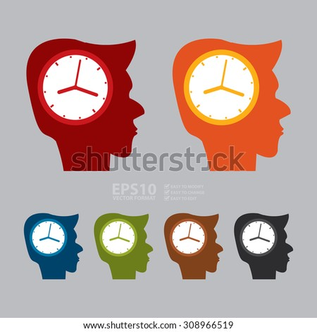 Vector : Head With Clock Infographics Flat Icon, Sign