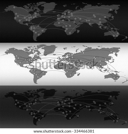 Vector header for website. Black and white. Web Design Elements - Header Design with Earth Map  - stock vector