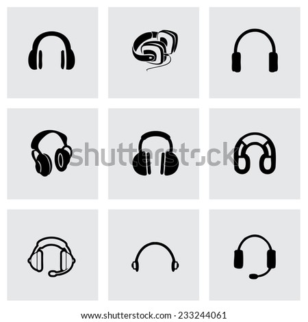 Vector headphone icon set on grey background - stock vector