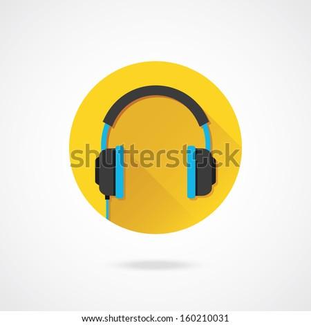 Vector Headphones Icon - stock vector