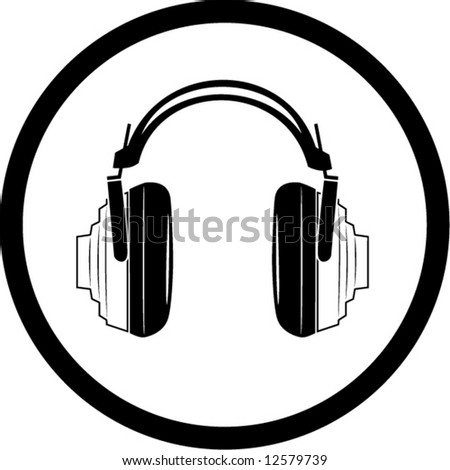 Vector headphones icon. Black and white. Simply change. In my portfolio there is version 4 in 1 - stock vector