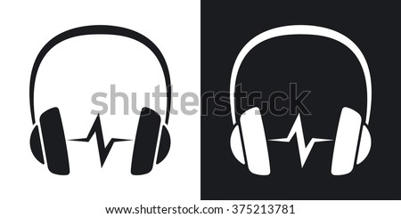 Vector headphones icon with sound wave. Two-tone version on black and white background - stock vector