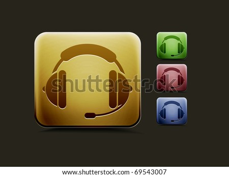 vector headset icon set, includes four color versions for your web colour design used. - stock vector