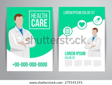 Vector health care brochure for clinic with doctors. Medical flyer design. - stock vector