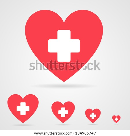 Vector health care icon, white cross in red heart - stock vector