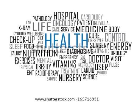 Vector health tag cloud - stock vector