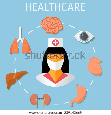 Vector healthcare medical flat background. Eps 10. - stock vector
