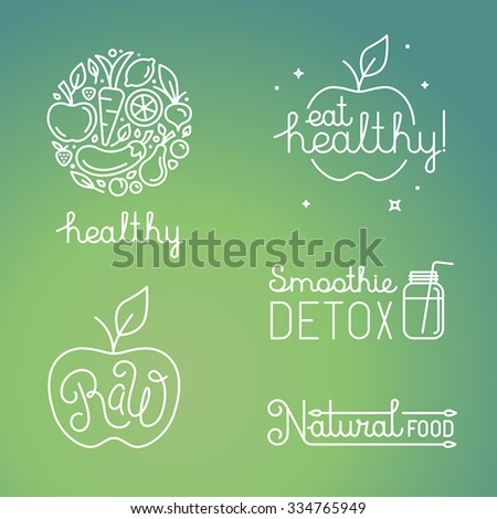 Vector healthy food and organic fruits concepts and logo design templates in trendy linear style - icons, signs and emblems related to vegan and raw organic food - stock vector