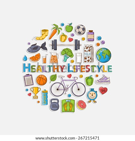 Vector Healthy lifestyle sticker set with shadow in the form of a circle.Bicycle,carrot, orange,grapefruit,juice,milk,sports,apple,pepper,jump rope,sneakers,fish,vitamins,measuring tape,cup,leaf,earth - stock vector