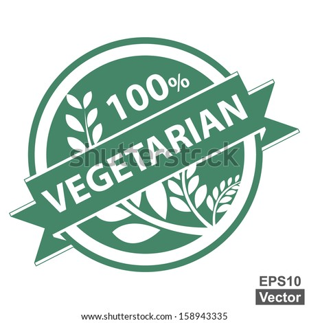 Vector : Healthy Product or Product Information Present By Green Vintage Style Tag, Sticker, Label or Badge With 100 Percent Text, Vegetarian Ribbon and Crop, Cereal or Grain Sign Isolated on White - stock vector