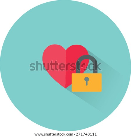 Vector heart and lock icon. Love secret symbol - stock vector