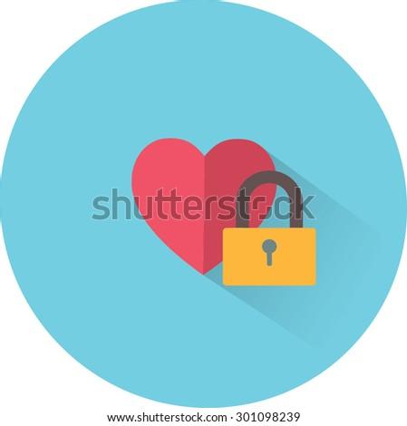 Vector heart and lock icon. Love secret symbol - stock vector