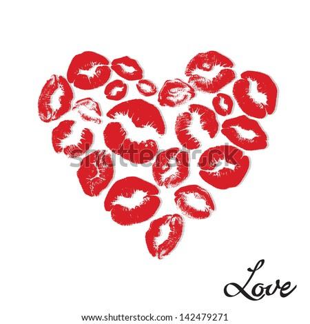 Vector Heart consist of Print of Lips - stock vector