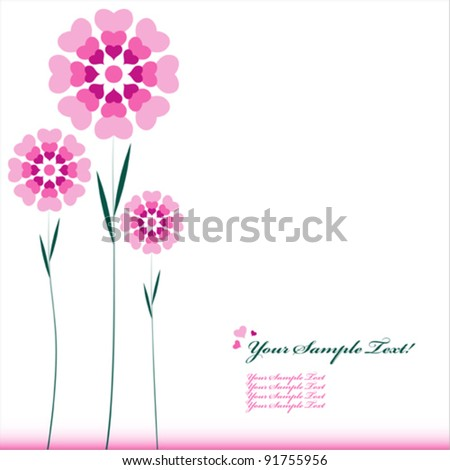 Vector Heart Flower background or card.