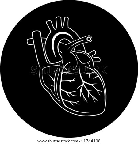 Vector heart icon. Black and white. Simply change. In my portfolio there is version 4 in 1.