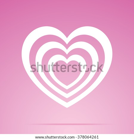 Vector heart icon, isolated on a pink background. - stock vector