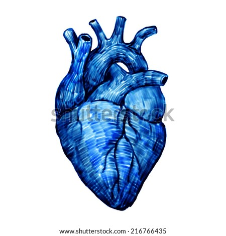 Vector heart isolated on a white backgrounds. Felt-tip pen sketch.  - stock vector