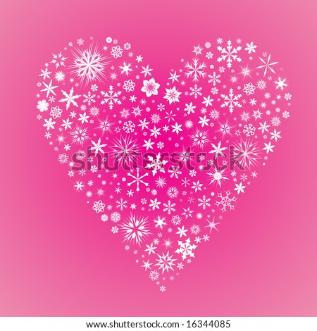 Vector heart made from snow flakes on a pink background - stock vector