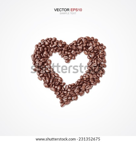 Vector heart of coffee beans on white background. - stock vector