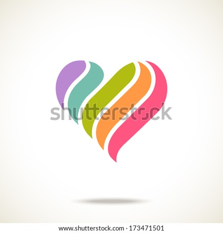 Vector heart of color shapes. Simple original icon. Modern design element - stock vector