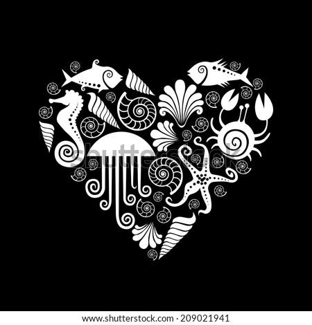 Vector heart of sea fauna icons. Original design element. Black and white decorative illustration for print, web - stock vector