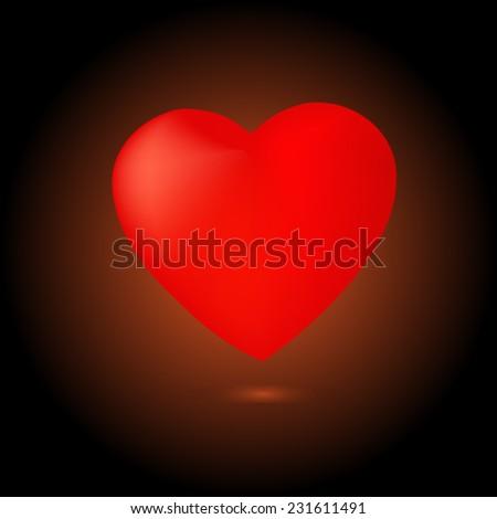 Vector heart on dark chocolate color background - stock vector