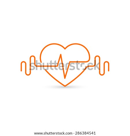 Vector heart outline, dumbbells and a cardiogram. Icon symbolizing health and sport. Lifestyle - stock vector