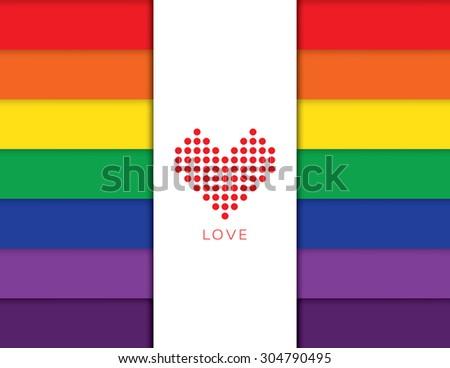Vector heart over rainbow background - stock vector