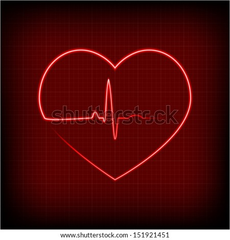 vector heart rhythm - stock vector