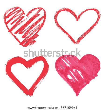 vector heart set - stock vector